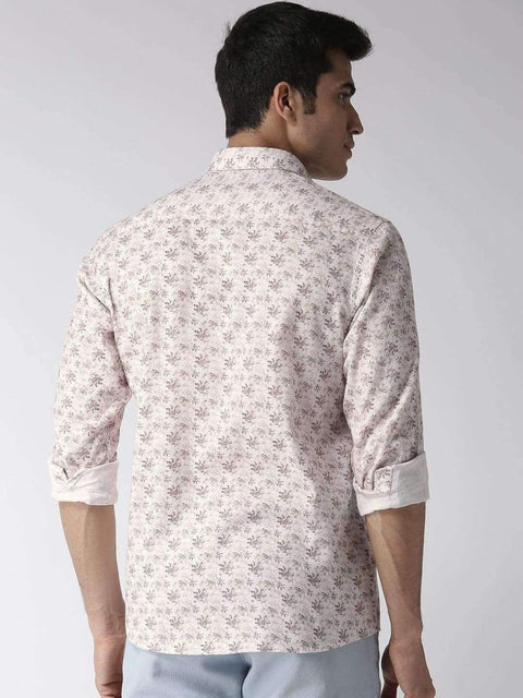 Off-White & Brown Printed Smart Casual Shirt back view