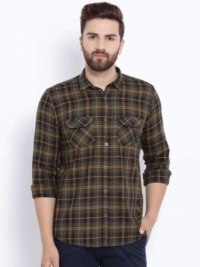 Richlook Casual Shirt Men Olive Brown & Black Slim Fit Checked Casual Shirt
