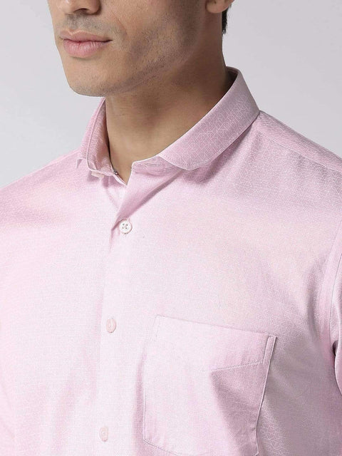 Richlook Casual Shirt Men Pink & White Regular Fit Printed Casual Shirt
