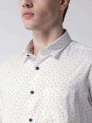White & Navy Blue Casual Shirt close view