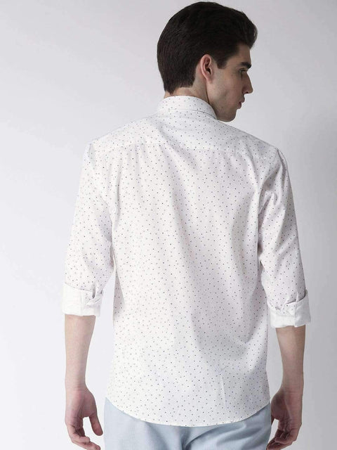 White & Navy Casual Shirt back view