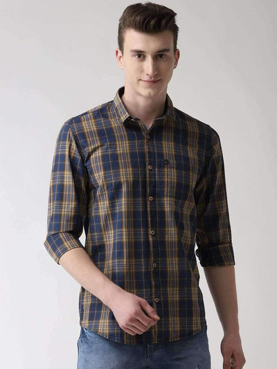 Mustard & Blue Casual Shirt