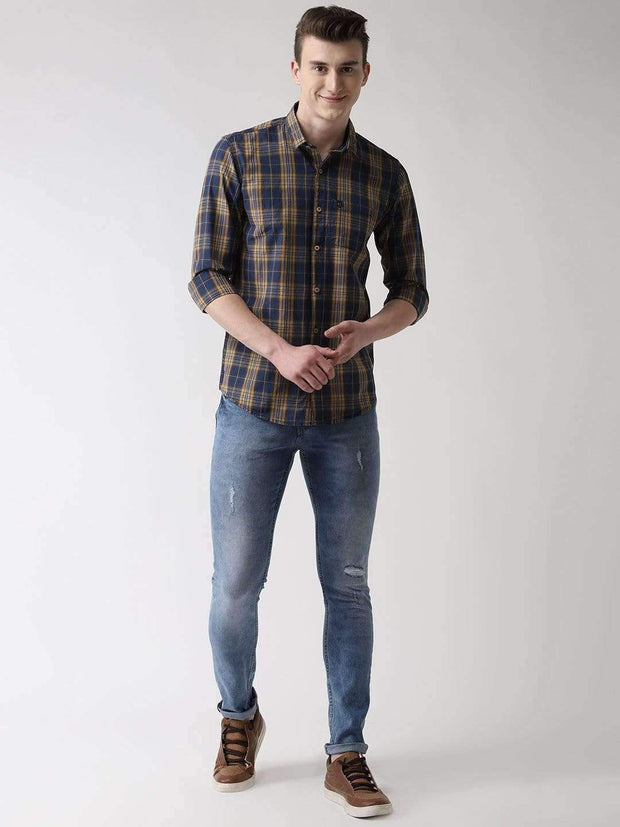 Mustard & Blue Casual Shirt full View