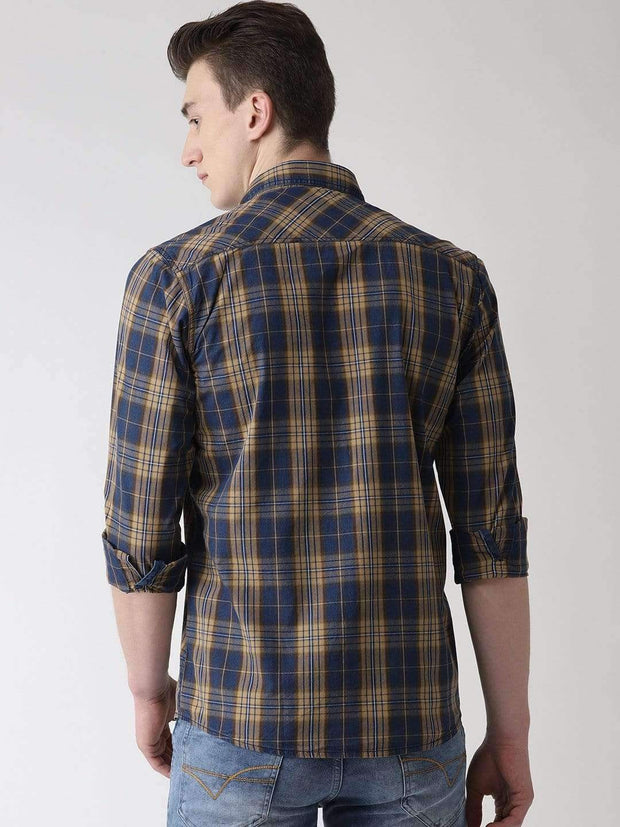 Mustard & Blue Casual Shirt back view