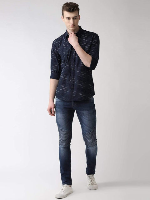 Navy Blue Casual Shirt Full View