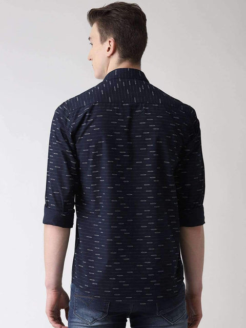 Navy Blue Casual Shirt back view
