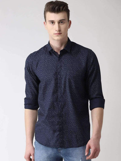 Navy Blue & Grey Casual Shirt