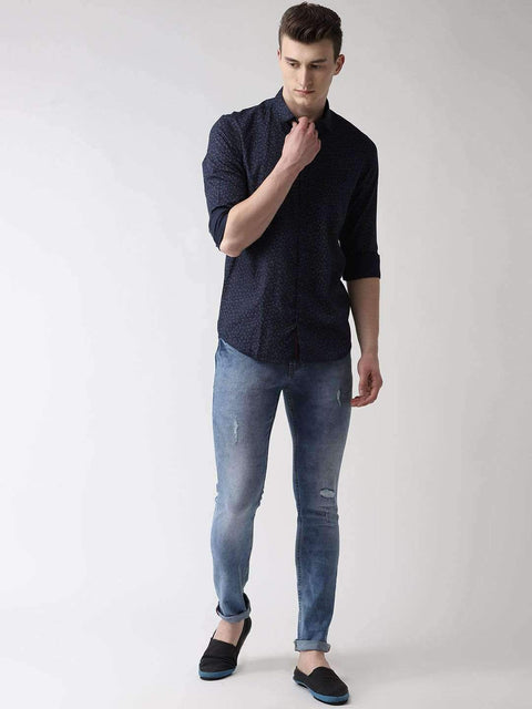 Navy Blue & Grey Casual Shirt full view
