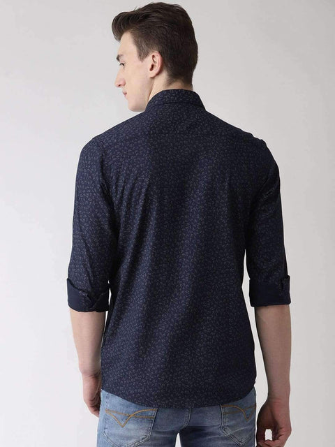 Navy Blue & Grey Casual Shirt back view