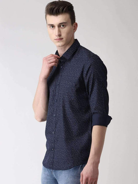 Navy Blue & Grey Casual Shirt side view