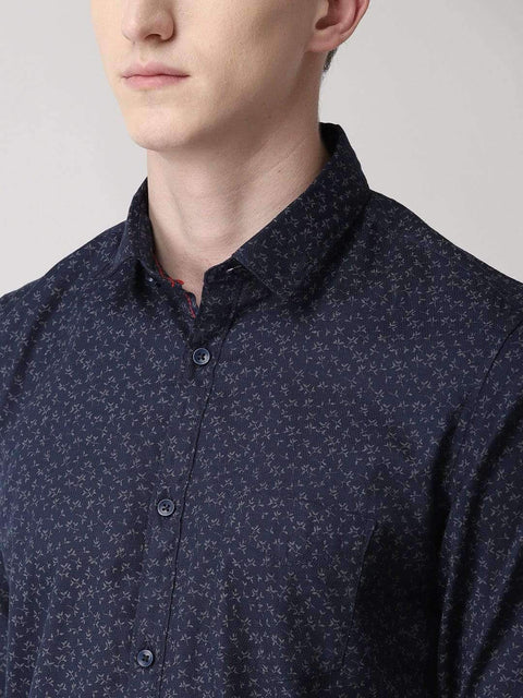 Navy Blue & Grey Casual Shirt close view