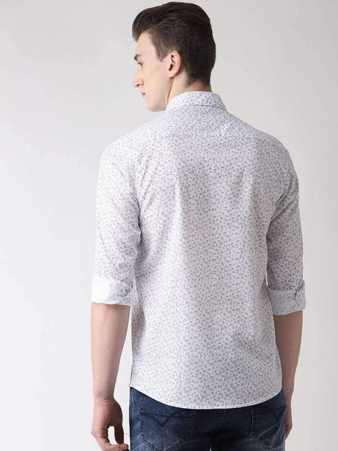 Navy Blue Printed Slim Fit Casual Shirt back view
