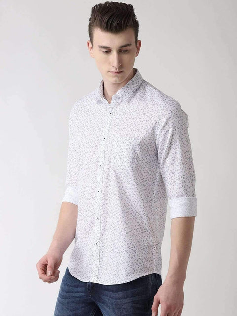 Navy Blue Printed Slim Fit Casual Shirt side view