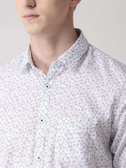 Navy Blue Printed Slim Fit Casual Shirt close view