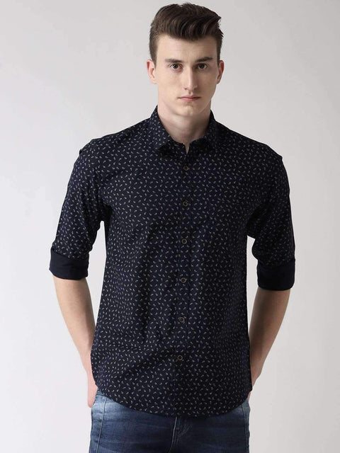 Navy Blue Slim Fit Printed Casual Shirt