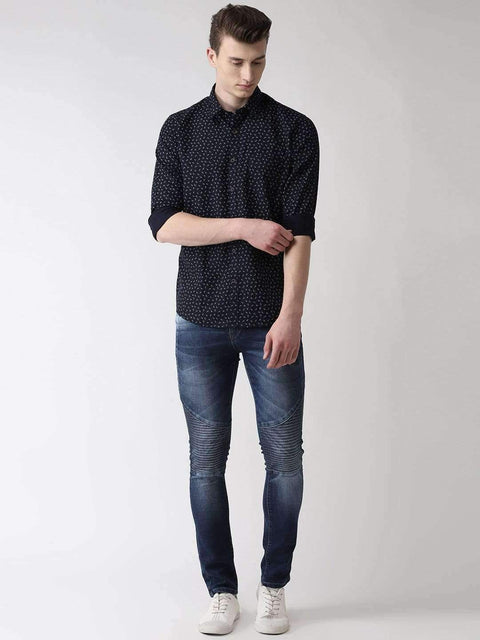 Navy Blue Slim Fit Printed Casual Shirt Full View