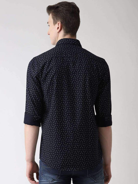 Navy Blue Slim Fit Printed Casual Shirt back view