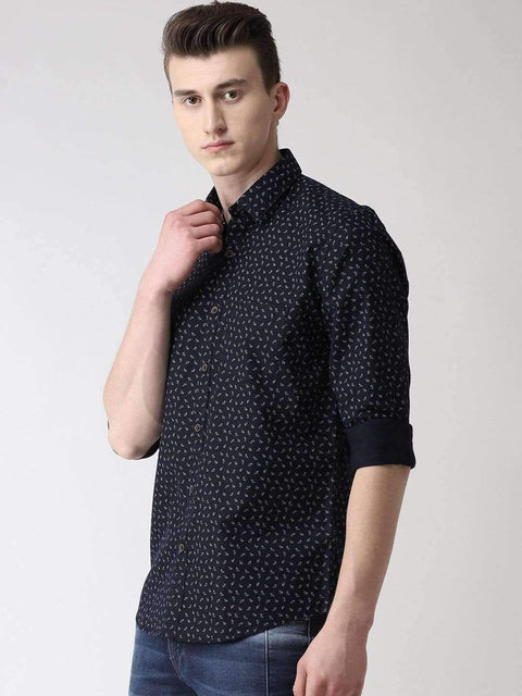 Navy Blue Slim Fit Printed Casual Shirt Side View