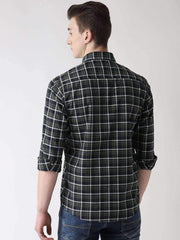 Olive & Blue Casual Shirt back view