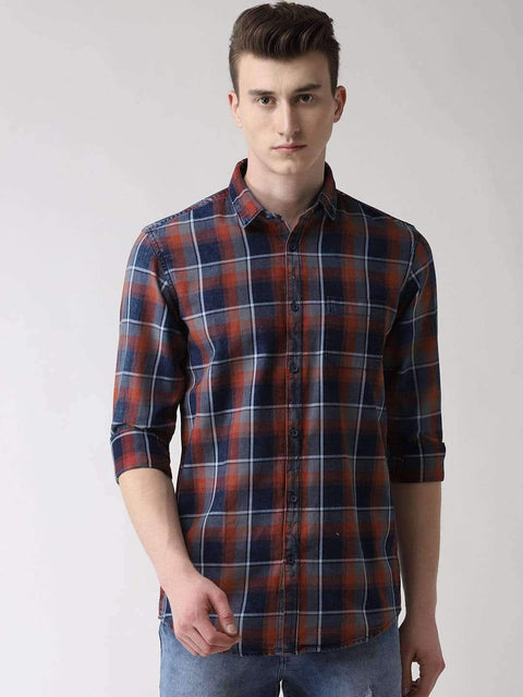 Red, Blue & Grey Casual Shirt