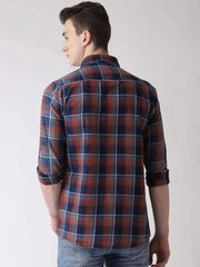 Red, Blue & Grey Casual Shirt back view