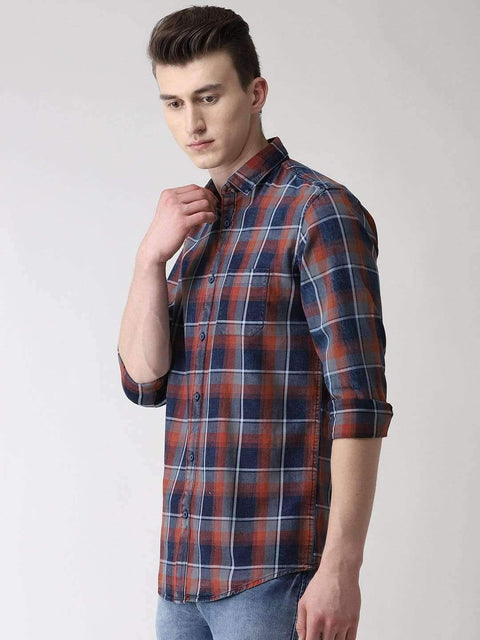 Red, Blue & Grey Casual Shirt side view