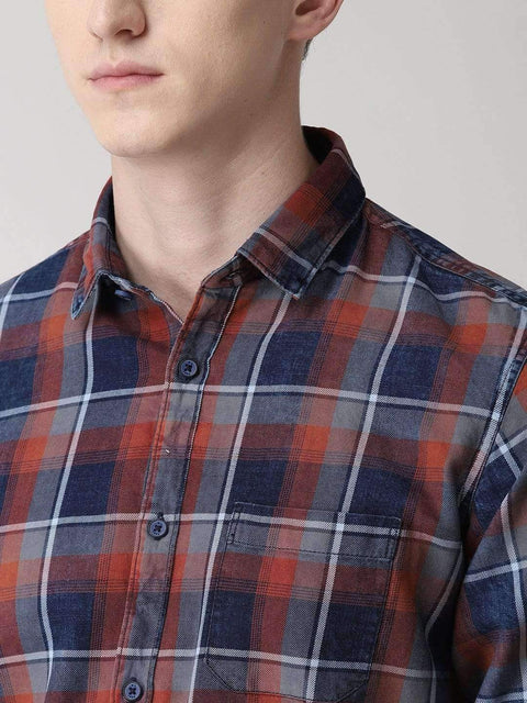 Red, Blue & Grey Casual Shirt for men