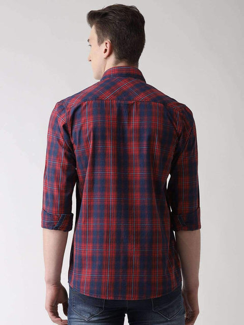 Red & Blue Casual Shirt Back view