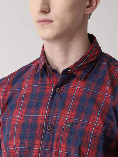 Red & Blue Casual Shirt close View