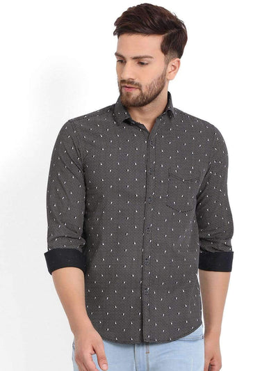 Richlook Black/White Printed Casual Shirt