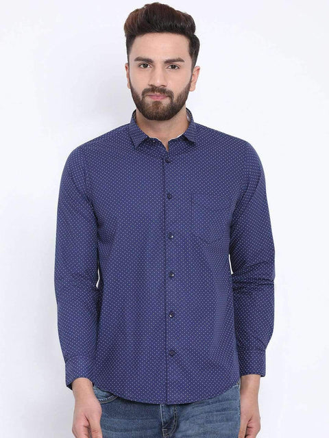Richlook Blue Casual Slim Fit Shirt