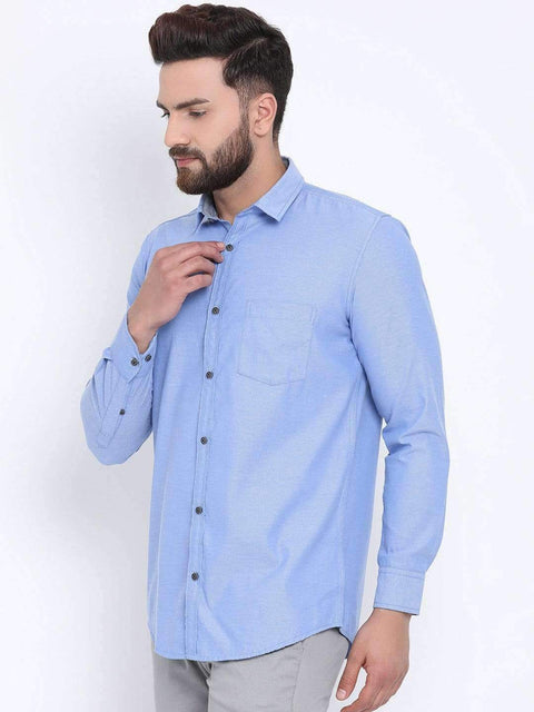 Blue Casual Slim Fit Shirt side view