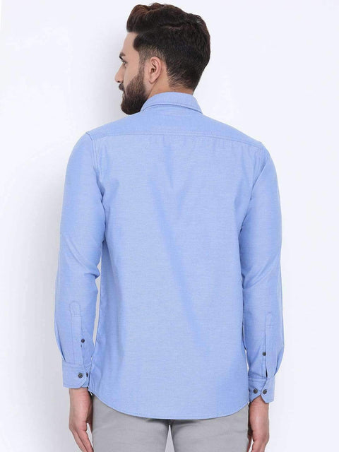 Blue Casual Slim Fit Shirt full view