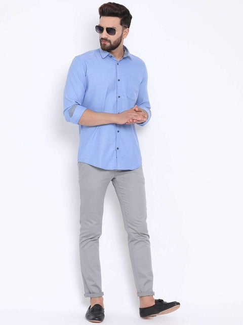 Blue Casual Slim Fit Shirt for Men