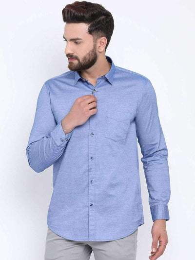Blue Casual Slim Fit Shirt