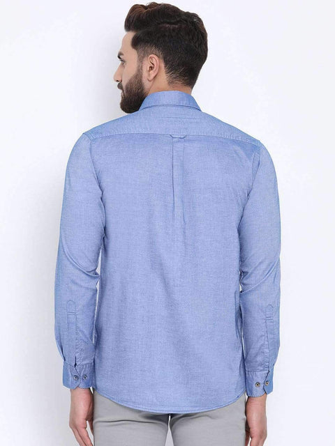 Blue Casual Slim Fit Shirt back view