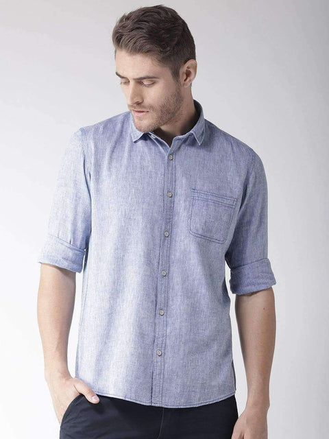 Richlook Blue Slim Fit Casual Shirt