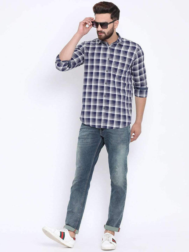 Richlook Blue White Casual Slim Fit Shirt