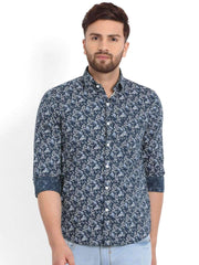 Richlook Blue/White Printed Casual Shirt