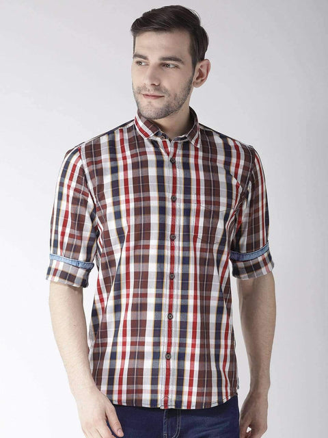 Cream & Brown Slim Fit Casual Shirt