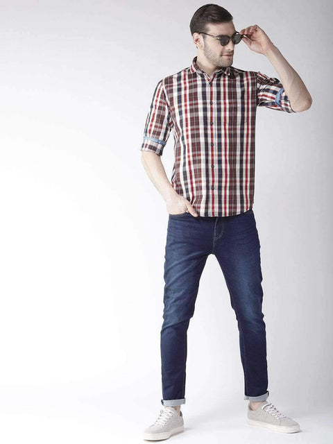 Cream & Brown Slim Fit Casual Shirt Full View