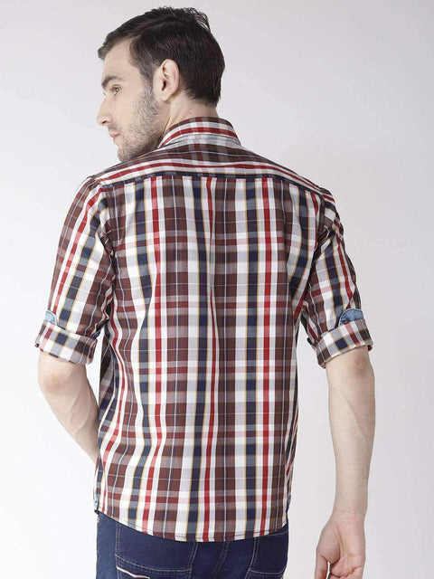 Cream & Brown Slim Fit Casual Shirt Back View