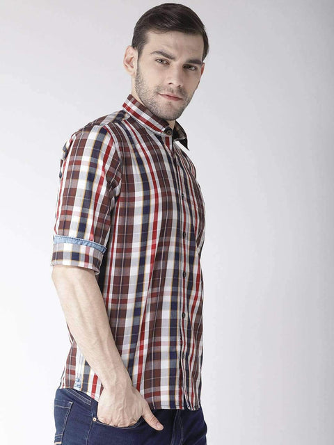 Cream & Brown Slim Fit Casual Shirt Side View