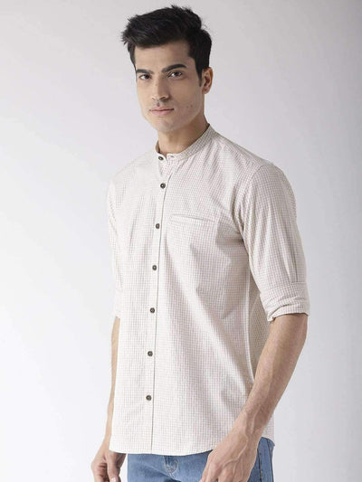Richlook Cream & Brown Slim Fit Casual Shirt