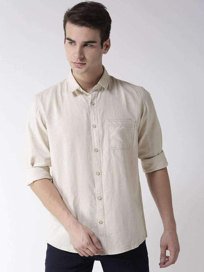 Richlook Cream Slim Fit Casual Shirt