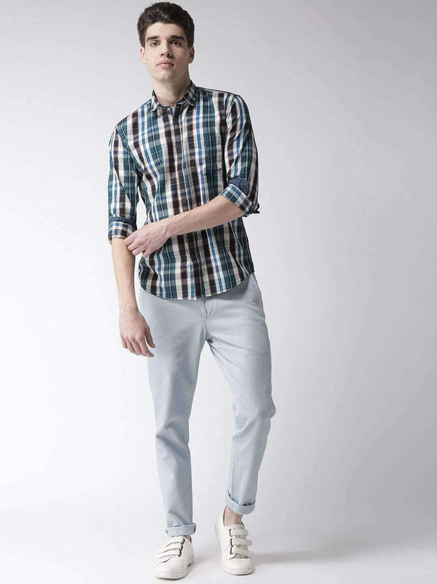 Cream & Tapesty Blue Casual Shirt full view