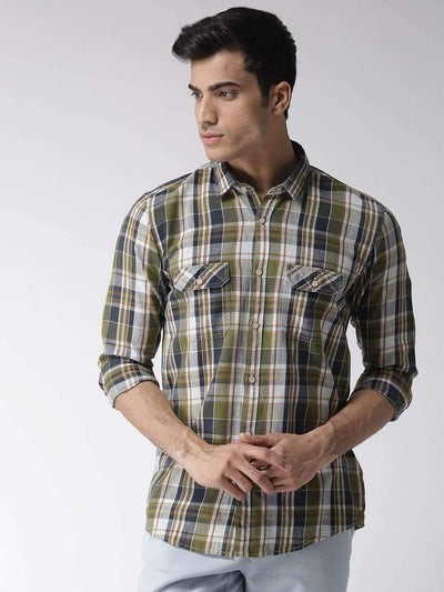 Green & Navy Slim Fit Casual Shirt