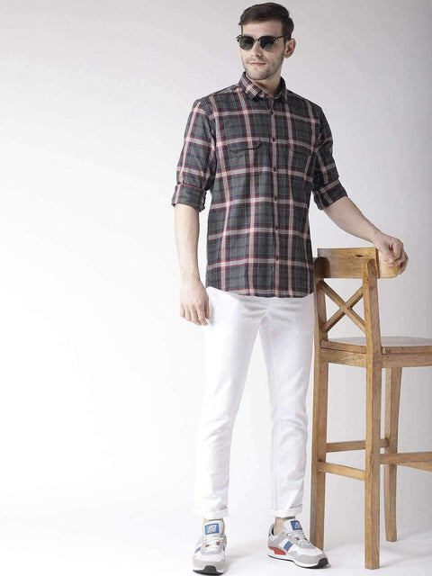 Grey & Red Slim Fit Casual Shirt Full View