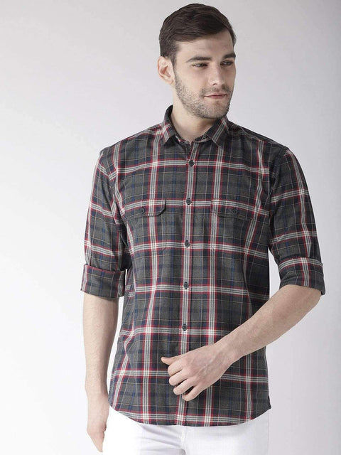 Grey & Red Slim Fit Casual Shirt