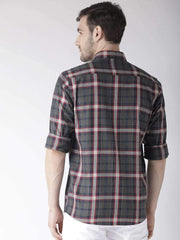 Grey & Red Slim Fit Casual Shirt Back View